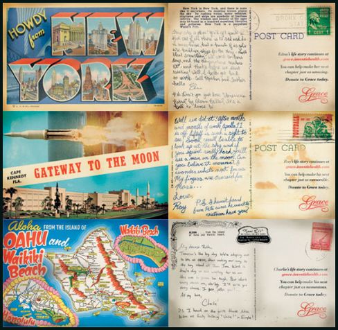 postcards written in the voice of the 3 characters from the poster